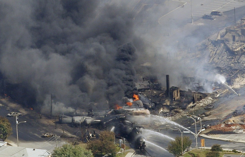Tragically 47 people lost their lives after four tank cars of petroleum products exploded in the small Canadian town of Lac Megantic in the province of Quebec on July 6th 2013. REUTERS/Mathieu Belanger