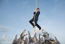 hanging precaiously