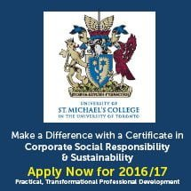 Click to learn more about the St. Michael's Certificate in CSR and Sustainability
