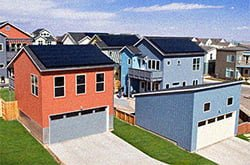 Houses in this Colorado development are equipped with solar panels and energy-efficient features.