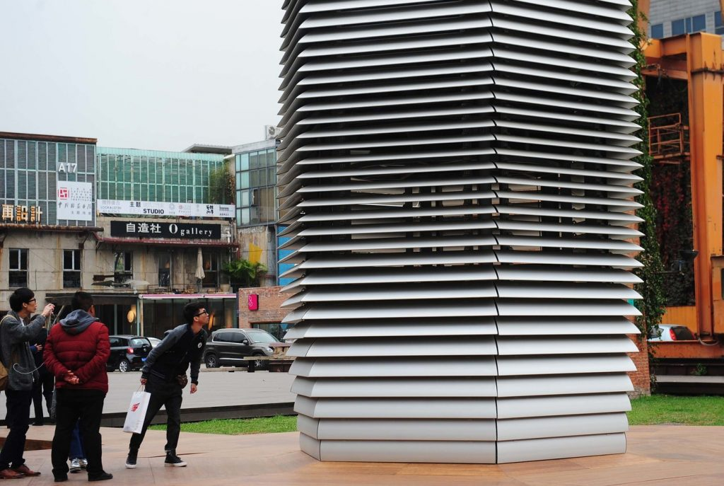 A smog-cleaning tower in Beijing is an example of technology improving residents' lives.